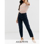ASOS DESIGN Petite Recycled Farleigh high waist slim mom jeans in dark wash blue with front seam detail