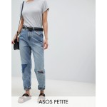 ASOS DESIGN Petite Recycled Ritson rigid mom jeans in Divinity rich mid blue wash with rip & repair detail