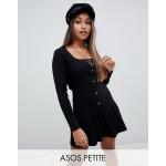 ASOS DESIGN Petite rib mini button through dress with pep hem