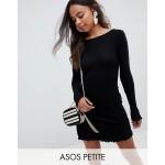 ASOS DESIGN Petite scoop back mini dress with frill hem