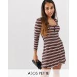 ASOS DESIGN Petite stripe rib mini skater dress with button front