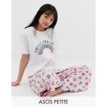 ASOS DESIGN Petite sweet dreaming pyjama t-shirt & trouser set
