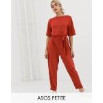 ASOS DESIGN Petite t-shirt jumpsuit with tie waist