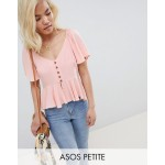 ASOS DESIGN Petite tea blouse with button front