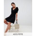 ASOS DESIGN Petite v neck skater dress with buttons