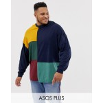 ASOS DESIGN Plus organic oversized longline long sleeve t-shirt with grid color block in navy
