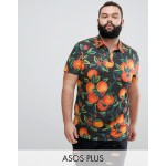 ASOS DESIGN Plus polo with all over floral fruit print and revere collar