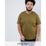 ASOS DESIGN Plus relaxed fit t-shirt with crew neck in khaki