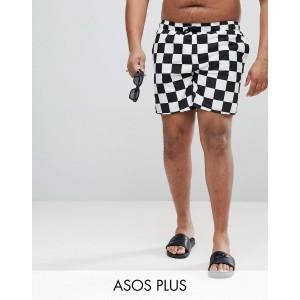 ASOS DESIGN Plus swim shorts in checkerboard print mid length