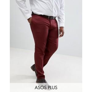 ASOS DESIGN Plus wedding skinny suit pants in wine micro texture