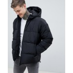 ASOS DESIGN puffer with hood in black