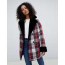 ASOS DESIGN reversible faux fur and check bonded jacket