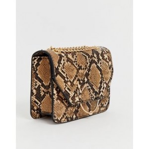 ASOS DESIGN ring and ball cross body bag with chain strap in snake