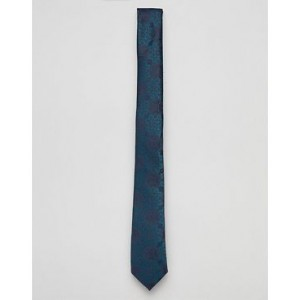 ASOS DESIGN slim paisley wedding tie in navy