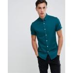 ASOS DESIGN slim shirt in teal with short sleeves
