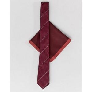 ASOS DESIGN slim textured tie with red border pocket square
