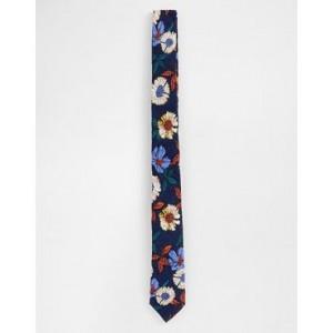 ASOS DESIGN slim tie in navy floral pattern