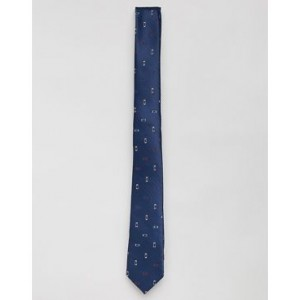 ASOS DESIGN slim tie in navy with grid design