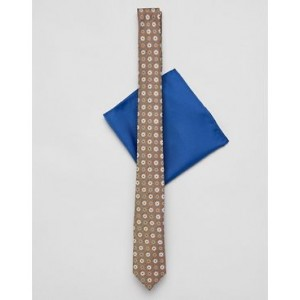 ASOS DESIGN slim wedding tie in mustard print with pocket square