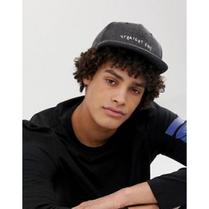 ASOS DESIGN snapback cap in gray with straight fire embroidery