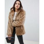 ASOS DESIGN stand collar faux fur coat