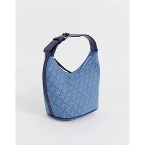 ASOS DESIGN structured 90s denim monogram shoulder bag