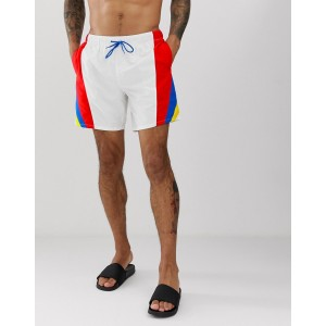 ASOS DESIGN Swim Shorts With Retro Color Side Stripes Mid Length