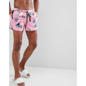 ASOS DESIGN Swim Shorts With Toucan Print In Short Length