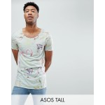ASOS DESIGN Tall longline t-shirt in linen look with floral print