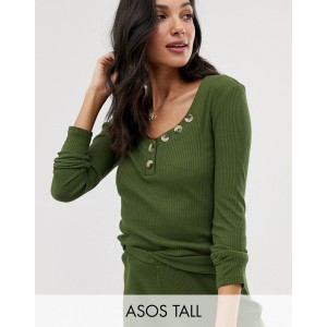 ASOS DESIGN Tall mix & match lounge ribbed long sleeve top with buttons