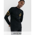ASOS DESIGN Tall muscle fit long sleeve t-shirt with turtleneck and emblem embroidery