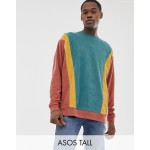 ASOS DESIGN Tall oversized sweatshirt in towelling with color blocking in brown