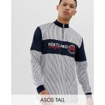 ASOS DESIGN Tall relaxed long sleeve turtleneck t-shirt with vertical stripes and text print