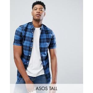 ASOS DESIGN Tall skinny check shirt in blue
