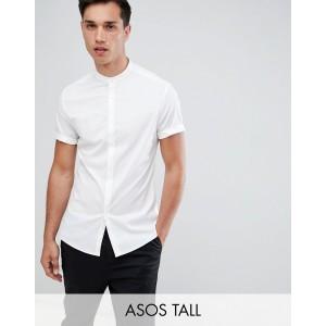 ASOS DESIGN Tall skinny shirt with grandad collar in white