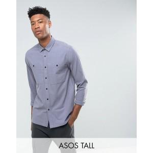 ASOS DESIGN Tall textured overshirt in light blue