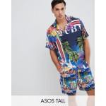 ASOS DESIGN Tall two-piece oversized tropical postcard print shirt with revere collar