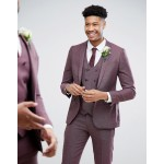 ASOS DESIGN Tall wedding skinny suit jacket in purple micro check
