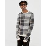 ASOS DESIGN textured check sweater in ecru base