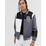 ASOS DESIGN varsity bomber jacket in color block gray