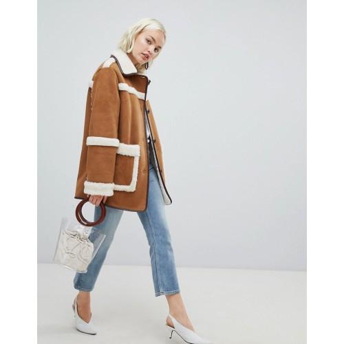 ASOS DESIGN vintage style borg jacket