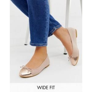 ASOS DESIGN Wide Fit Larva toe cap ballet flats