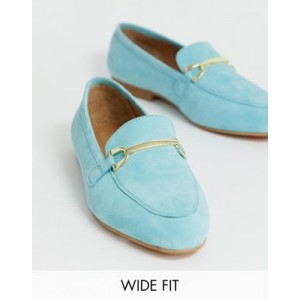ASOS DESIGN Wide Fit Moment suede loafers in blue