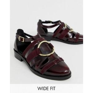 ASOS DESIGN Wide Fit Villa premium leather flat shoes in burgundy