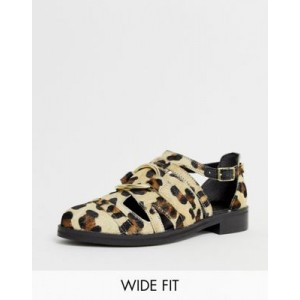 ASOS DESIGN Wide Fit Villa premium leather flat shoes in leopard