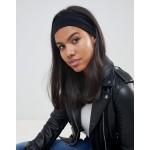 ASOS DESIGN wide jersey headband in black