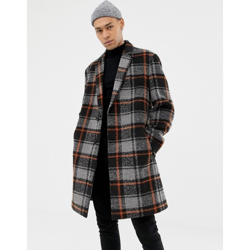 ASOS DESIGN wool mix overcoat with orange check in black
