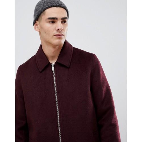 ASOS DESIGN wool mix zip through jacket in burgundy