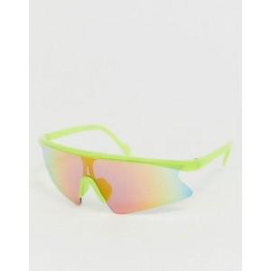 ASOS DESIGN wrap half frame visor sunglasses with red flash lens