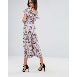 ASOS Jumpsuit with Twist back and Frill Detail in Floral Print